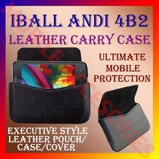 ACM-HORIZONTAL LEATHER CARRY CASE for IBALL ANDI 4B2 MOBILE POUCH PREMIUM COVER
