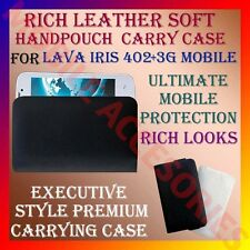 ACM-RICH LEATHER SOFT CARRY CASE for LAVA IRIS 3G 402+ MOBILE HANDPOUCH COVER
