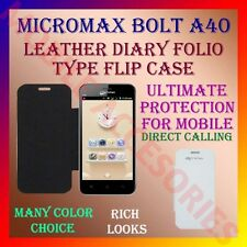 ACM-LEATHER DIARY FOLIO FLIP CASE for MICROMAX BOLT A40 MOBILE FRONT/BACK COVER
