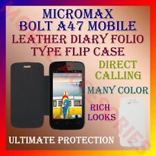 ACM-LEATHER DIARY FOLIO FLIP CASE for MICROMAX BOLT A47 MOBILE FRONT/BACK COVER