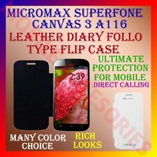ACM-LEATHER DIARY FOLIO FLIP CASE for MICROMAX SUPERFONE CANVAS 3 A116 COVER NEW