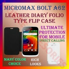 ACM-LEATHER DIARY FOLIO FLIP CASE for MICROMAX BOLT A62 MOBILE FRONT/BACK COVER