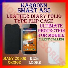 ACM-LEATHER DIARY FOLIO FLIP CASE for KARBONN SMART A35 MOBILE FRONT/BACK COVER