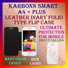 ACM-LEATHER DIARY FOLIO FLIP CASE for KARBONN SMART A4+ MOBILE FRONT/BACK COVER