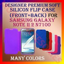 ACM-DESIGNER PREMIUM SILICON SOFT FLIP CASE for SAMSUNG NOTE II 2 N7100 COVER