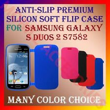 ACM-ANTI-SLIP PREMIUM SILICON SOFT FLIP CASE for SAMSUNG S DUOS 2 S7582 COVER