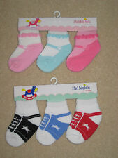 New 3 Pairs Rock a Bye Baby Trainer Shoe Socks 0-18 months Boys Girls