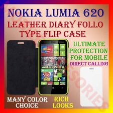 ACM-LEATHER DIARY FOLIO FLIP CASE COVER for NOKIA LUMIA 620 MOBILE FRONT & BACK