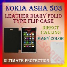 ACM-LEATHER DIARY FOLIO FLIP CASE COVER for NOKIA ASHA 503 MOBILE FRONT & BACK