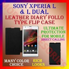 ACM-LEATHER DIARY FOLIO FLIP FLAP CASE for SONY XPERIA L & L DUAL MOBILE COVER