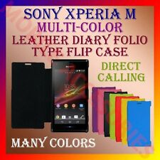 ACM-LEATHER DIARY FOLIO FLIP CASE for SONY XPERIA M MOBILE FRONT & BACK COVER