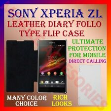 ACM-LEATHER DIARY FOLIO FLIP CASE for SONY XPERIA ZL MOBILE FRONT & BACK COVER