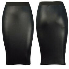 Womens New Faux Leather Ladies Bodycon Wet Look Pencil Fit Tube Black Midi Skirt
