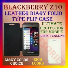 ACM-LEATHER DIARY FOLIO FLIP FLAP CASE for BLACKBERRY Z10 MOBILE FRONT & BACK