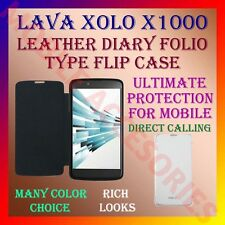 ACM-LEATHER DIARY FOLIO FLIP FLAP CASE for XOLO X1000 MOBILE FRONT & BACK COVER