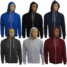 Mens Plain Warm Zip Up Fleece Hoody Hooded Sweatshirt Jacket Top Hoodies S-XL