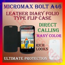 ACM-LEATHER DIARY FOLIO FLIP CASE for MICROMAX BOLT A46 MOBILE FRONT/BACK COVER