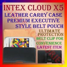 ACM-BELT CASE for INTEX CLOUD X5 MOBILE LEATHER CARRY POUCH COVER CLIP HOLDER