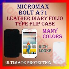 ACM-LEATHER DIARY FOLIO FLIP CASE for MICROMAX BOLT A71 MOBILE FRONT/BACK COVER