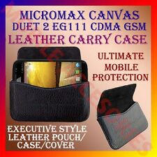 ACM-HORIZONTAL LEATHER CARRY CASE for MICROMAX DUET 2 EG111 CDMA GSM COVER POUCH