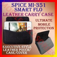 ACM-HORIZONTAL LEATHER CARRY CASE for SPICE MI-351 SMART FLO MOBILE POUCH COVER