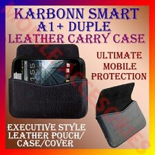 ACM-HORIZONTAL LEATHER CARRY CASE for KARBONN SMART A1+ DUPLE MOBILE POUCH COVER