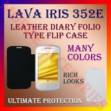 ACM-LEATHER DIARY FOLIO FLIP CASE for LAVA IRIS 352e MOBILE FRONT & BACK COVER