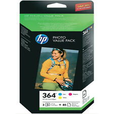 GENUINE OEM HP 3 COLOUR PHOTO VALUE PACK HP 364 C / M / Y +85 SHEETS PHOTO PAPER