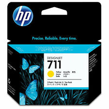 GENUINE OEM HP HEWLETT PACKARD YELLOW 3 CARTRIDGE MULTIPACK - HP 711 / CZ136A
