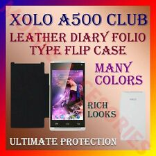 ACM-LEATHER DIARY FOLIO FLIP CASE for XOLO A500 CLUB MOBILE FRONT & BACK COVER