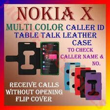 ACM-CALLER ID TABLE TALK CASE for NOKIA X ANDROID MOBILE FLIP LEATHER COVER NEW