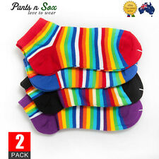 2 Pairs Womens Rainbow Stripe Cotton Ladies Ankle Socks Sports Casual Socks 2-8