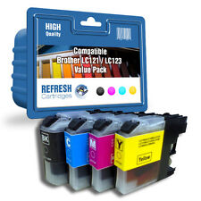 4 X COMPATIBLE BROTHER MFC DCP INK CARTRIDGES LC121 / LC123 1 FULL SET