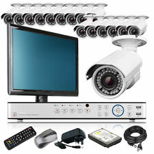 16 x 2.8-12mm Camera HD-MI 16 CH DVR CCTV Complete Kit DIY Complete with Monitor