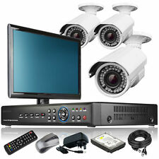 3 x 2.8-12mm Camera Full HD 4 CH DVR CCTV Complete Kit Plug Play with Monitor 3G