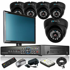 5 x IR Night Vision Camera Full HD 8 CH DVR CCTV Package Plug Play with Monitor