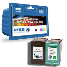 REMANUFACTURED HP 338 (BLACK) & HP 344 (COLOUR) INK CARTRIDGE TWIN VALUE PACK
