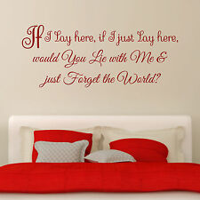 Snow Patrol Chasing Cars If I lay here Lyrics Bedroom Wall Art Sticker Decal