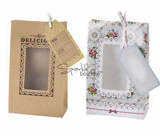 LUXURY PAPER COOKIE BAGS - Greaseproof with Mini Pegs & Tags / Giftable Baking