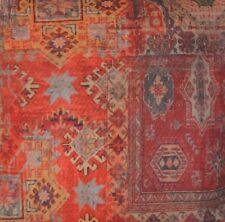 Red Fabric Cotton Printed Rug Morocco Carpet Kilim Vintage Style Sold by Metre