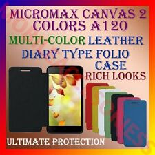 ACM-LEATHER DIARY FOLIO FLIP FLAP CASE for MICROMAX CANVAS 2 COLORS A120 COVER