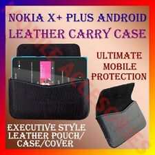 ACM-HORIZONTAL LEATHER CARRY CASE for NOKIA X+ PLUS ANDROID MOBILE POUCH COVER