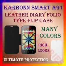 ACM-LEATHER DIARY FOLIO FLIP CASE for KARBONN SMART A91 MOBILE FRONT/BACK COVER