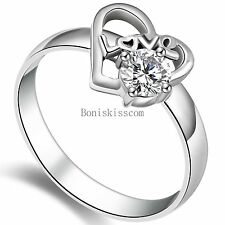 "Stainless Steel "" Love "" Word Heart 0.5 Ct Cz Promise Engagement Wedding Ring"