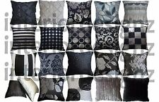 NEW Black Silver Grey Collection Various Designs Luxury Quality Cushion Covers
