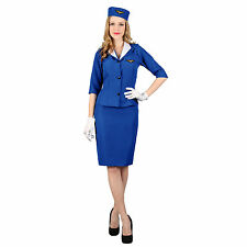 Womens Pan-Am Air Hostess Cabin Stewardess Trolley Dolly Fancy Dress Costume