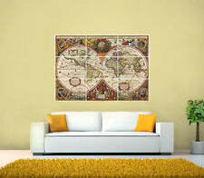 Antique Vintage Latin World Map from 1630 GIANT POSTER, Various sizes from A3