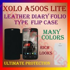ACM-LEATHER DIARY FOLIO FLIP FLAP CASE for XOLO A500S LITE FRONT & BACK COVER