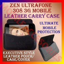 ACM-HORIZONTAL LEATHER CARRY CASE for ZEN ULTRAFONE 308 3G POUCH COVER HOLDER