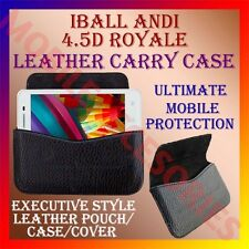 ACM-HORIZONTAL LEATHER CARRY CASE for IBALL ANDI 4.5D ROYALE MOBILE POUCH COVER